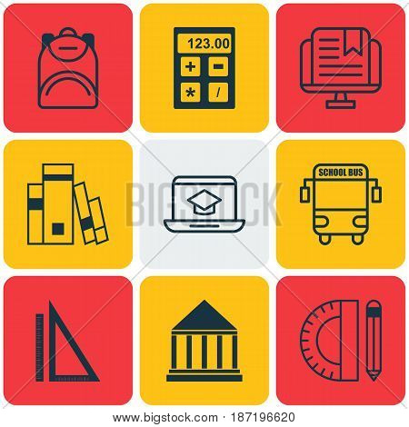 Set Of 9 School Icons. Includes Transport Vehicle, Haversack, Electronic Tool And Other Symbols. Beautiful Design Elements.
