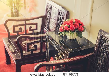 Chinese Style Interior furniture decoration. living room traditional culture oriental room.