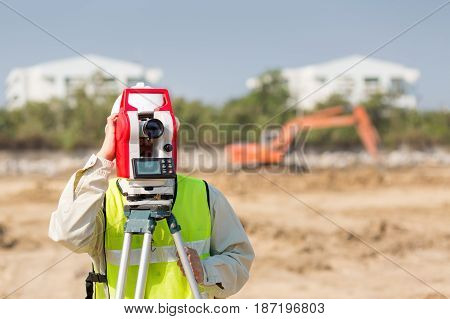 Asian Construction engineer checking construction site for new Infrastructure construction project. photo concept for engineering work