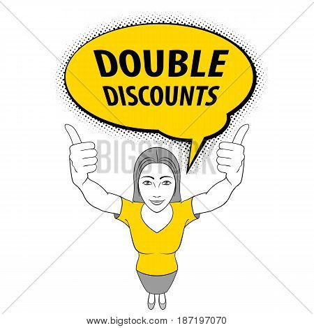 Cartoon Illustration of a Young Woman Making Thumbs up Sign with Both Hands. Double Discount