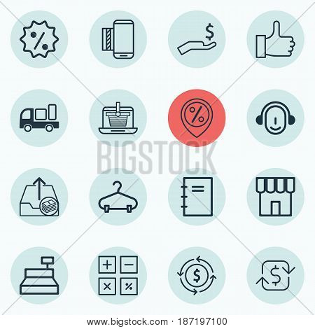 Set Of 16 Commerce Icons. Includes Shop, Rich, Spiral Notebook And Other Symbols. Beautiful Design Elements.