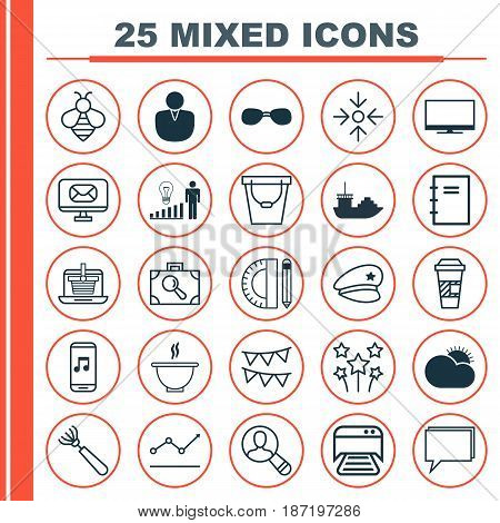 Set Of 25 Universal Editable Icons. Can Be Used For Web, Mobile And App Design. Includes Elements Such As Decision Making, Account, Tanker And More.