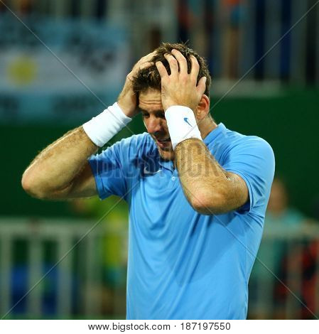 RIO DE JANEIRO, BRAZIL - AUGUST 12, 2016: Grand Slam Champion Juan Martin Del Porto of Argentina after victory at men's singles quarterfinal of the Rio 2016 Olympic Games at the Olympic Tennis Centre