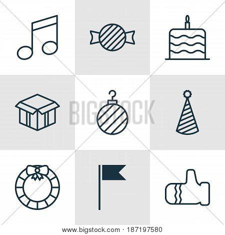 Set Of 9 Happy New Year Icons. Includes Celebration Cake, Garland , Mitten Symbols. Beautiful Design Elements.