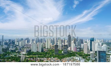 JAKARTA Indonesia. May 12 2017: aerial view of skyscrapers in Central Jakarta under clear sky