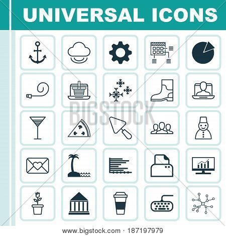 Set Of 25 Universal Editable Icons. Can Be Used For Web, Mobile And App Design. Includes Elements Such As Education Center, Pie Chart, Ship Hook And More.
