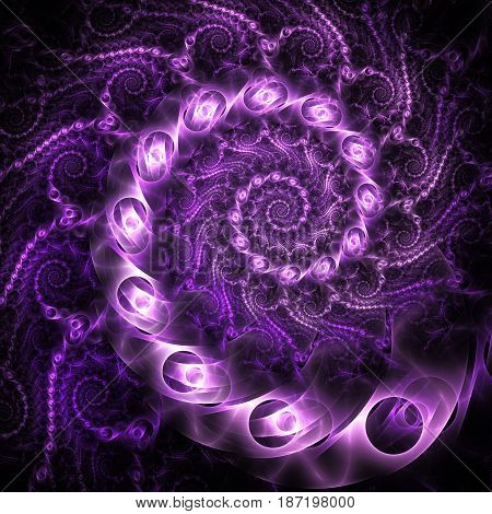 Abstract Fantastic Spiral Design With Purple Metallic Shapes On Black Background. Digital Fractal Ar