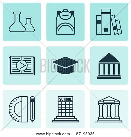 Set Of 9 Education Icons. Includes Education Tools, Graduation, Education Center And Other Symbols. Beautiful Design Elements.