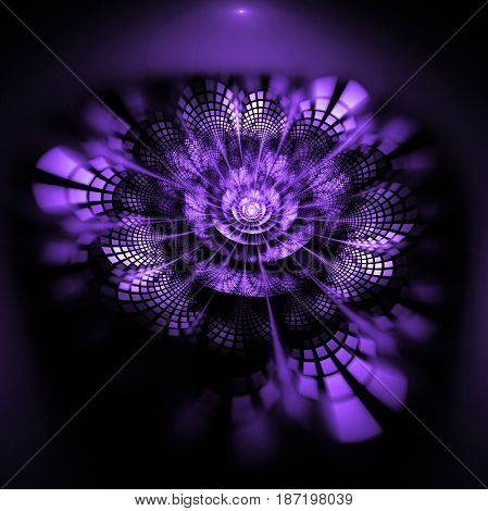 Abstract Exotic Flower With Textured Petals On Black Background. Fantasy Fractal Design In Bright Pu