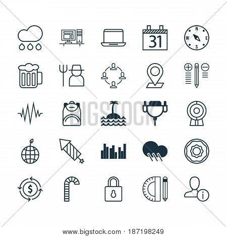 Set Of 25 Universal Editable Icons. Can Be Used For Web, Mobile And App Design. Includes Elements Such As Education Tools, Date, Web Discussing And More.