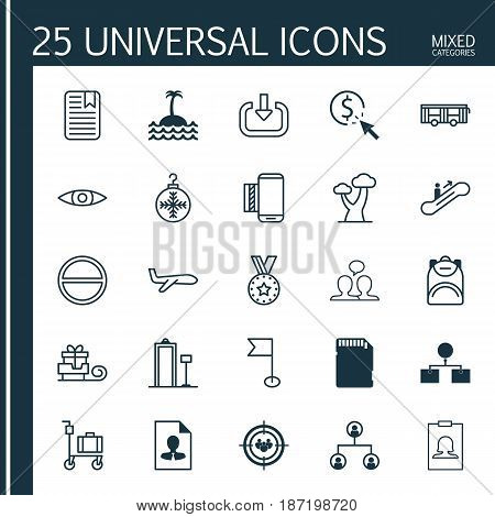 Set Of 25 Universal Editable Icons. Can Be Used For Web, Mobile And App Design. Includes Elements Such As Moving Staircase, Memory Card, Conversation And More.