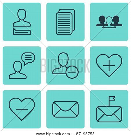 Set Of 9 Social Icons. Includes Remove User, Internet Site, Chatting Person And Other Symbols. Beautiful Design Elements.