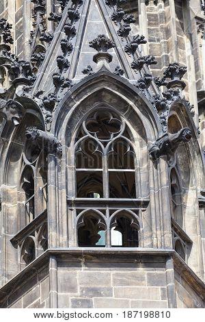 14th century St. Vitus Cathedral facade window Prague Czech Republic