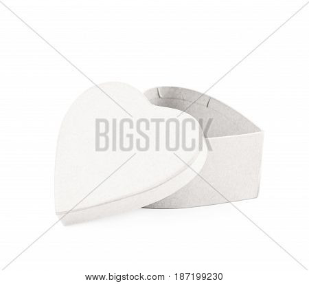 Paper heart shaped gift box isolated over the white background