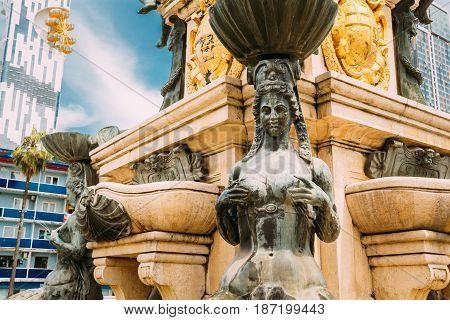 Batumi, Adjara, Georgia. Close up detail of Neptune Fountain in park on Rustaveli Ave. Famous landmark.