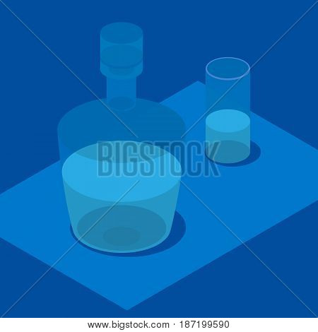 3d isometric carafe and glass of water. Still life with bottle in blue.