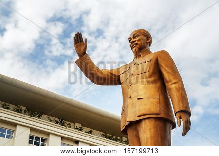 Bronze Statue Of President Ho Chi Minh On Sky Background