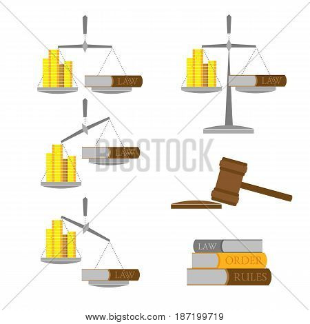 Set of balance with money (gold coins) and lawbook. In different positions. Some books and judges gavel. Law and legal icons. Flat style vector clip art. Isolated on white background.