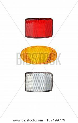 Bicycle light reflectors isolated on white background