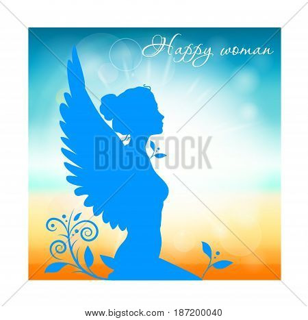 Thinking woman looking away isolated on white blue and yellow background. There is a sign Happy woman .