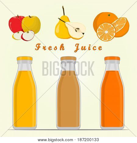 Abstract vector illustration of logo for fruit red apple pear yellow orange cut sliced.Pear drawing consisting of peel fruits pip ripe sweet food leaf.