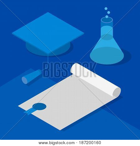 Graduation cap, certificate and flask with chemical liquid. Concept - reception of scientific degree, success in chemistry or other science. Isometric 3D vector clip art in blue colors.