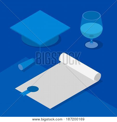 Graduation cap, certificate and wineglass. Concept - celebration reception of scientific degree, success in science. Isometric 3D vector clip art in blue colors.