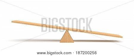 3d rendering of a light wooden seesaw with the right side leaning to the ground on white background. Geometrical shapes. Saving balance. Scales.