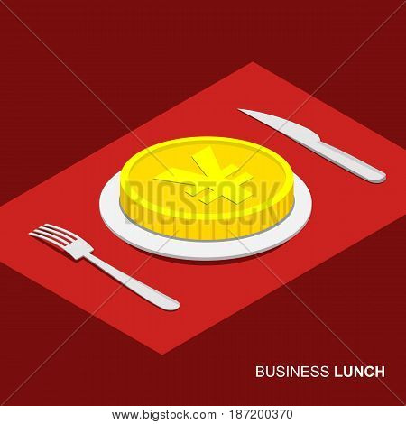 Business lunch concept infographic. Isometric 3d coin with yen sign on plate isolated on white background. Cutlery fork and knife.
