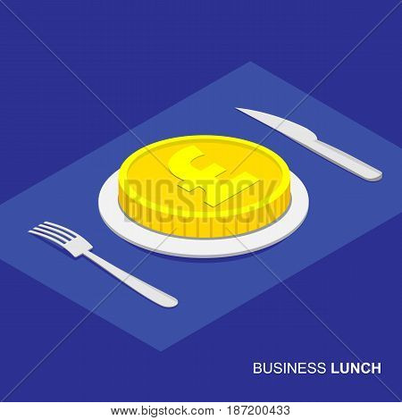 Business lunch concept infographic. Isometric 3d coin with pound sign on plate isolated on white background. Cutlery fork and knife.