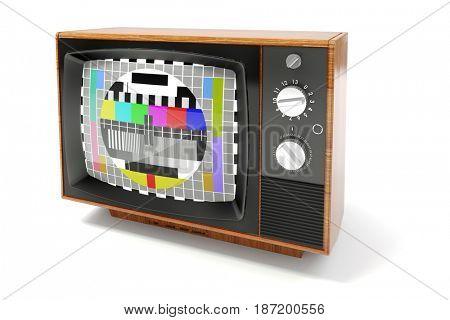 3d vintage tv on white background