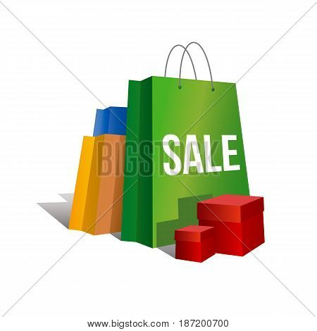 Discount sign. Set of colorful paper shopping bags with word 'Sale' and present boxes near. Isolated on white background. Vector clip art with gradients and shadows.