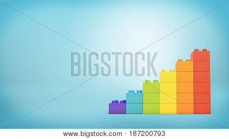 3d rendering of a stack of toy blocks building blocks made to look like a ladder in rainbow colors. Personal growth. Unique way of life. Positivity and success.