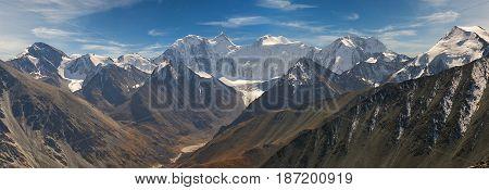 Beautiful panorama autumn landscape view of the mountain range to the nearest Pass Russia Siberia Altai Mountains Katun Range.