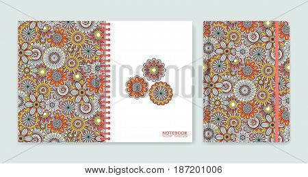 Cover design for notebooks or scrapbooks with beautiful ornamental flowers. Vector illustration.