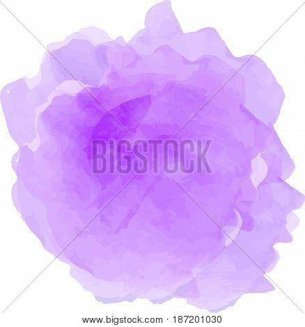 Vector watercolor splash texture isolated on white background. Watercolor light violet spot. Watercolor effects. Light violet color abstraction on white background.