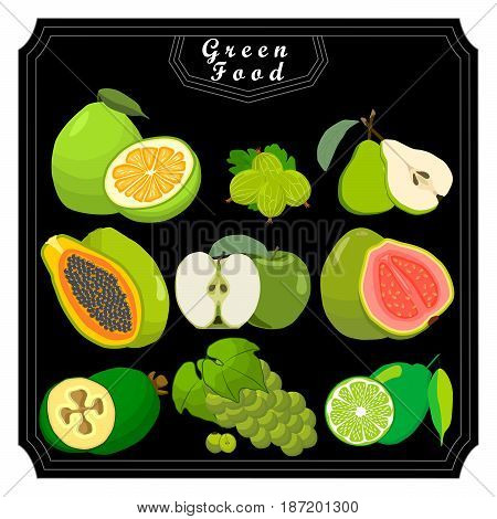 Vector for green fruits pomelo pear papaya apple guava grape lime passion fruit feijoa gooseberry.Eat fresh pomelo pears papayas apples guavas grapes limes passion fruit feijoa gooseberry for health.