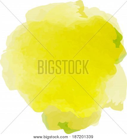 Vector watercolor splash texture isolated on white background. Watercolor light yellow spot. Watercolor effects. Light yellow color abstraction on white background.