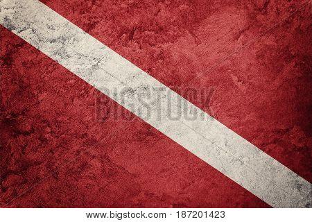 Vintage Style Scuba Flag. Diver Down Flag.