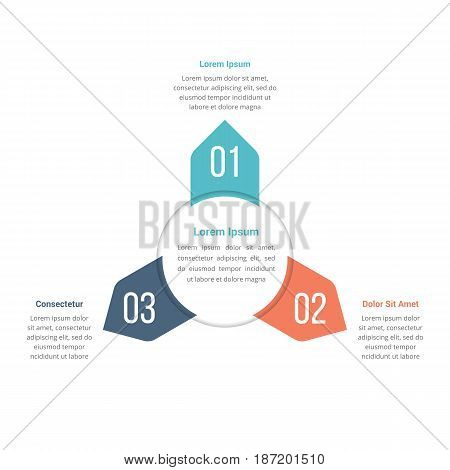 Circle infographics template with three elements, vector eps10 illustration