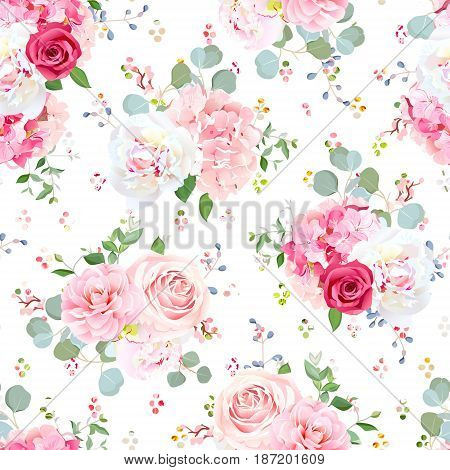Small wedding bouquets of red and pink rose, white peony, camellia, hydrangea, blue berries and eucalyptus leaves pattern. Seamless vector print with rainbow round confetti backdrop.