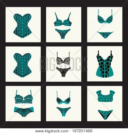 Beautiful feminine lacy elegant female underwear. Fashion bra sets with different styles of bra and woman panties.