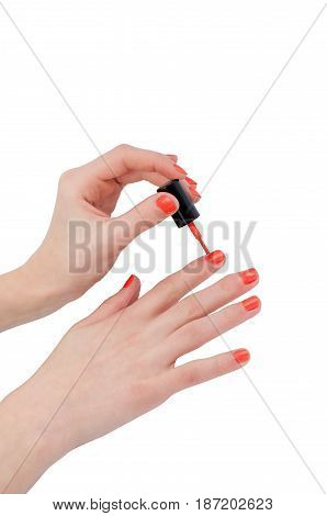 Manicure on his hands isolated on a white background