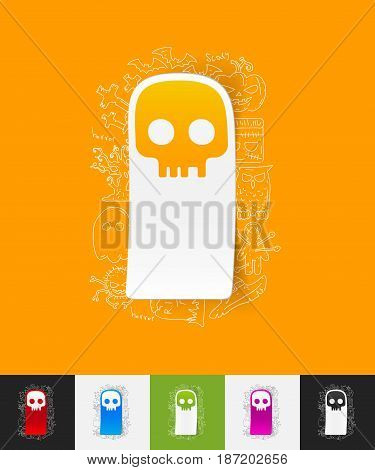 hand drawn simple elements with skull paper sticker shadow