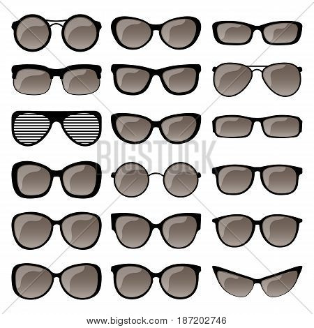 Set of different shapes of spectacle frames. Men and women sunglasses eyeglasses frames for vision care. Vector