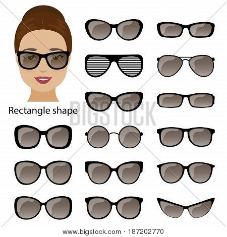 Spectacle frames shapes for rectangle women face. Vector