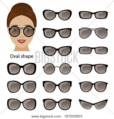 Spectacle frames shapes for oval women face. Vector