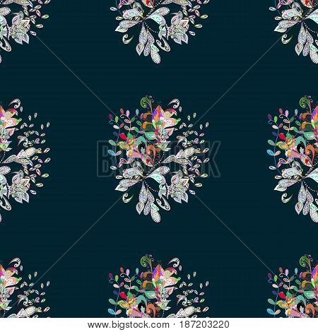 Vector sketch of many abstract flowers in colors. Hand drawn seamless flower illustration. Seamless pattern abstract floral background.