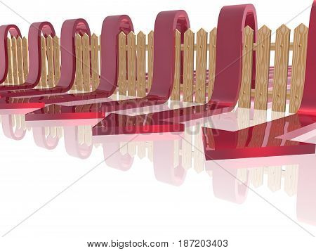 Red arrows and fence on white reflective background 3D illustration.