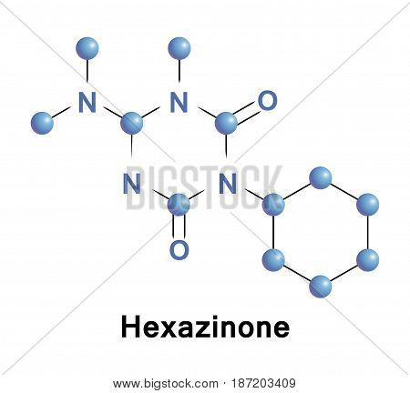 Hexazinone is an organic compound that is used as a broad spectrum herbicide. This colorless solid is highly soluble in organic solvents. A member of the triazine class